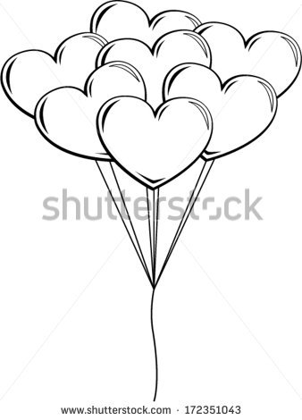 338x470 Drawn Balloon Heart Shaped