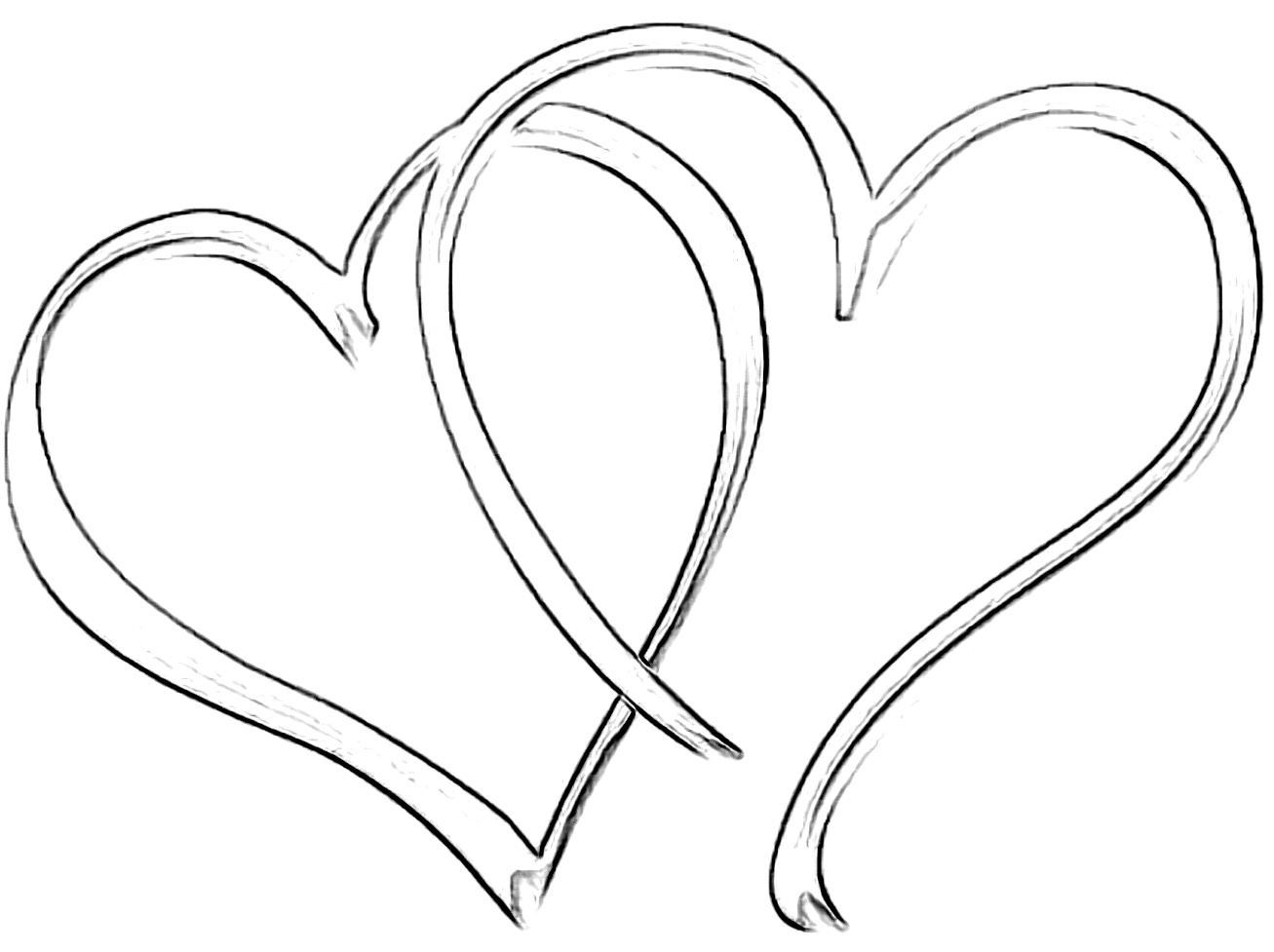 1307x977 Drawing Of A Heart Shape Line Drawing Heart Shape