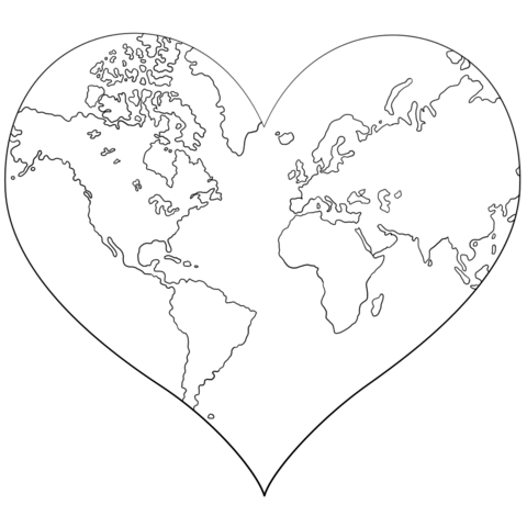 480x480 Heart Shaped Earth Coloring Page Free Printable Coloring Pages