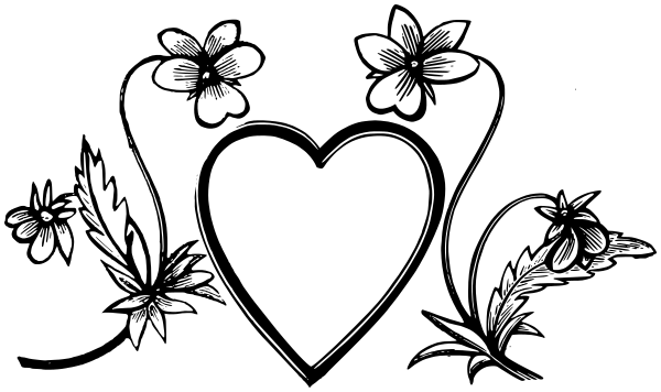 600x356 Heart Flowers Bw