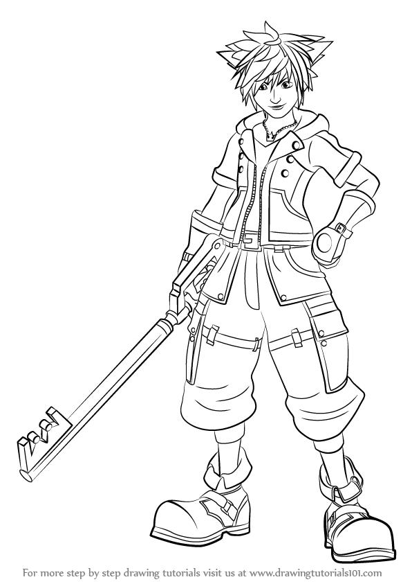 596x843 Learn How To Draw Sora From Kingdom Hearts (Kingdom Hearts) Step