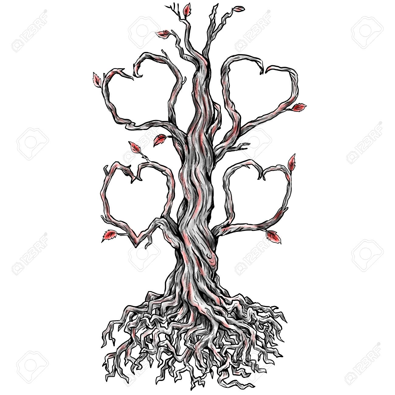 1300x1300 Tattoo Style Illustration Of A Twisted Oak Tree Without Leaves
