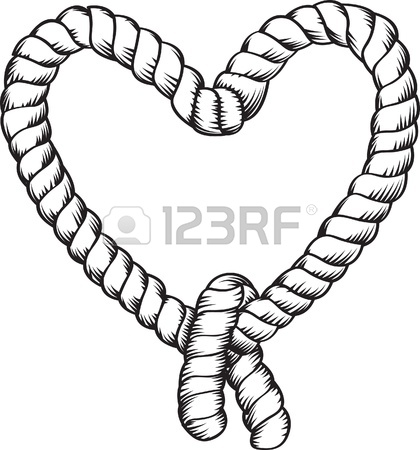 420x450 Heart Shape Tied Rope Royalty Free Cliparts, Vectors, And Stock