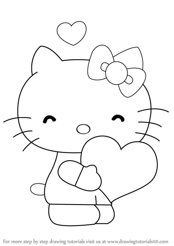 600x846 Learn How To Draw Hello Kitty With Heart (Hello Kitty) Step By
