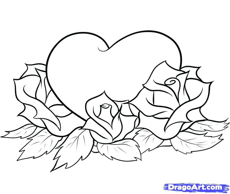 736x620 Free Coloring Pages Flowers Hearts Drawn Easy Pencil And In Color