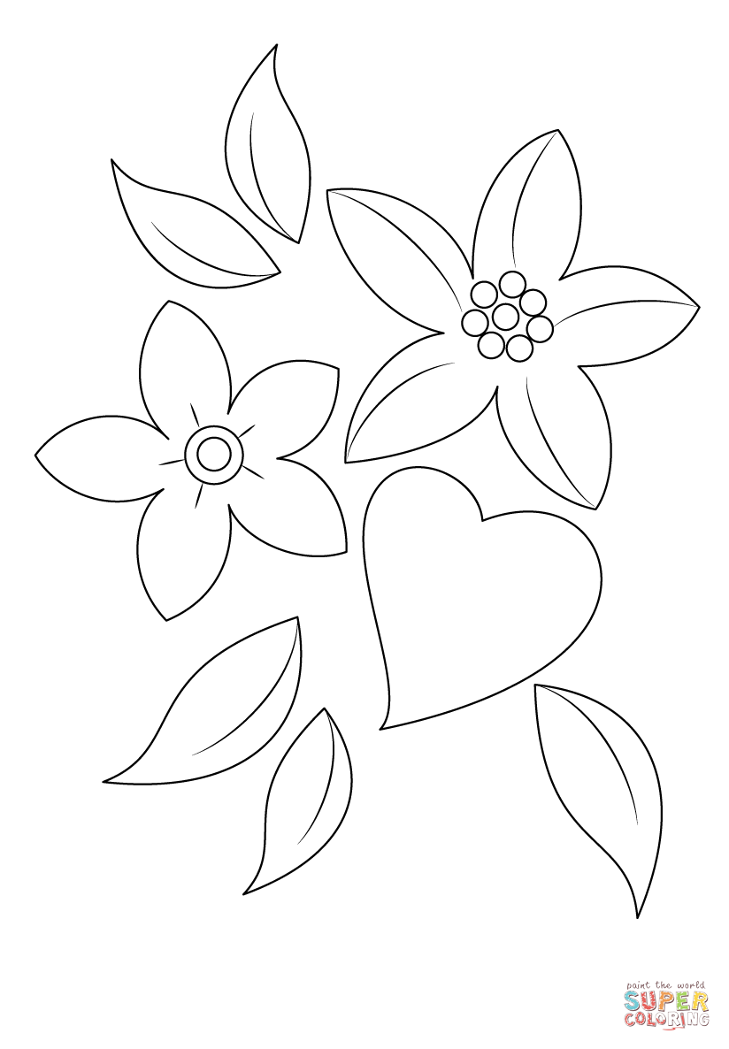 824x1186 Heart And Flowers Coloring Page Free Printable Coloring Pages