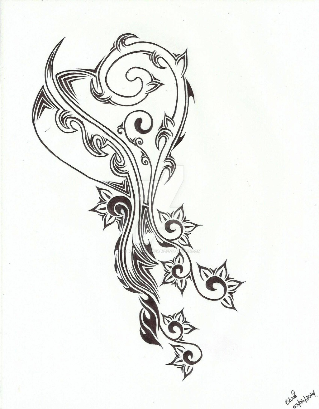 1024x1311 Tribal Heart And Flower Tattoo Design By Chrismetalfreak