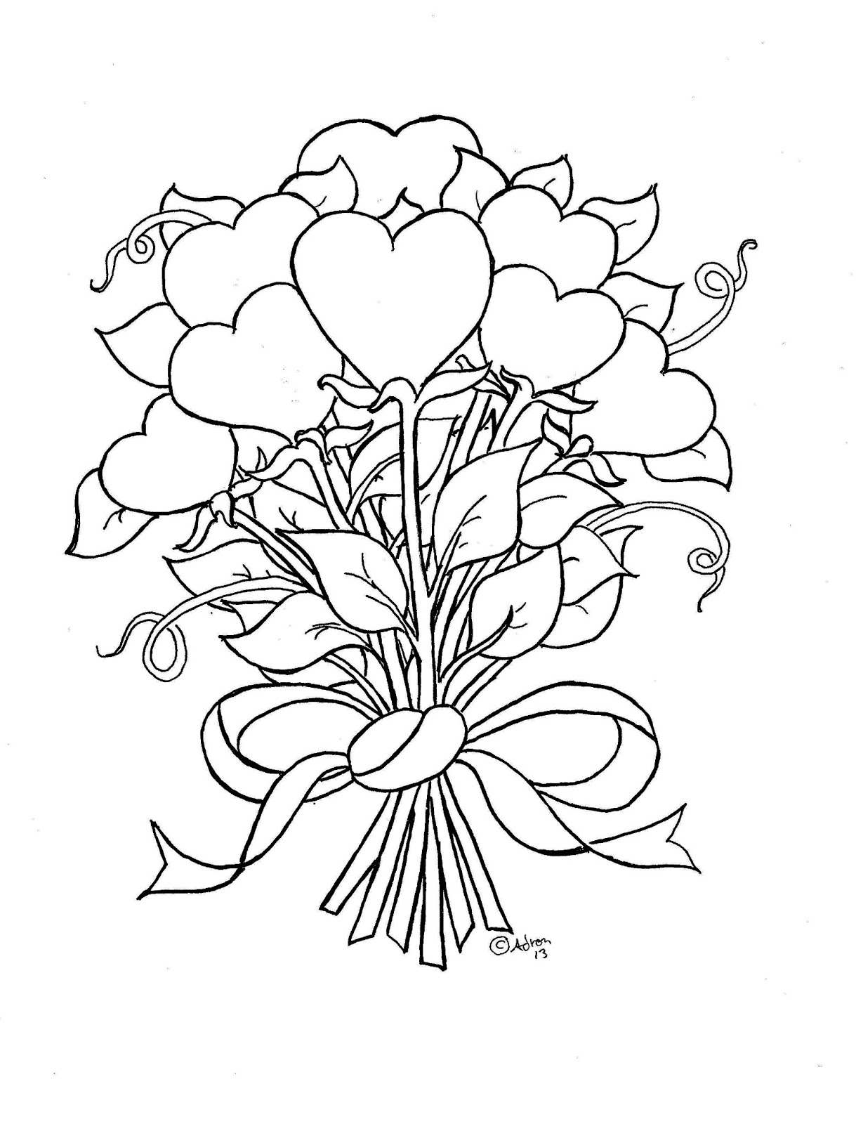1219x1600 Coloring Pages Flowers And Hearts Coloring Page For Kids