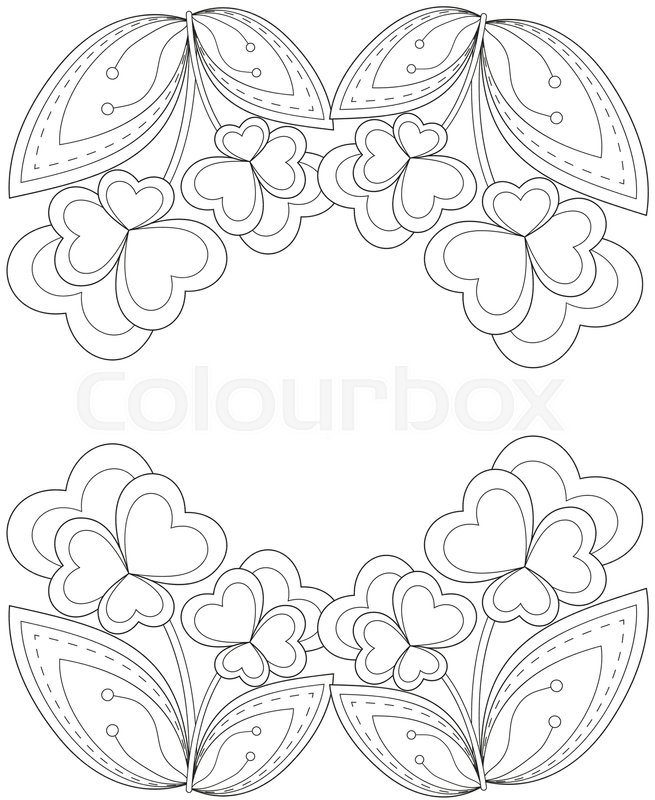 655x800 Black And White Heart Flower Plant Border. Coloring Book Page