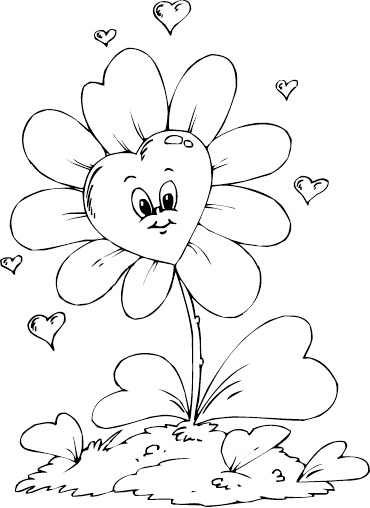 370x508 Heart Shaped Flower Coloring Page