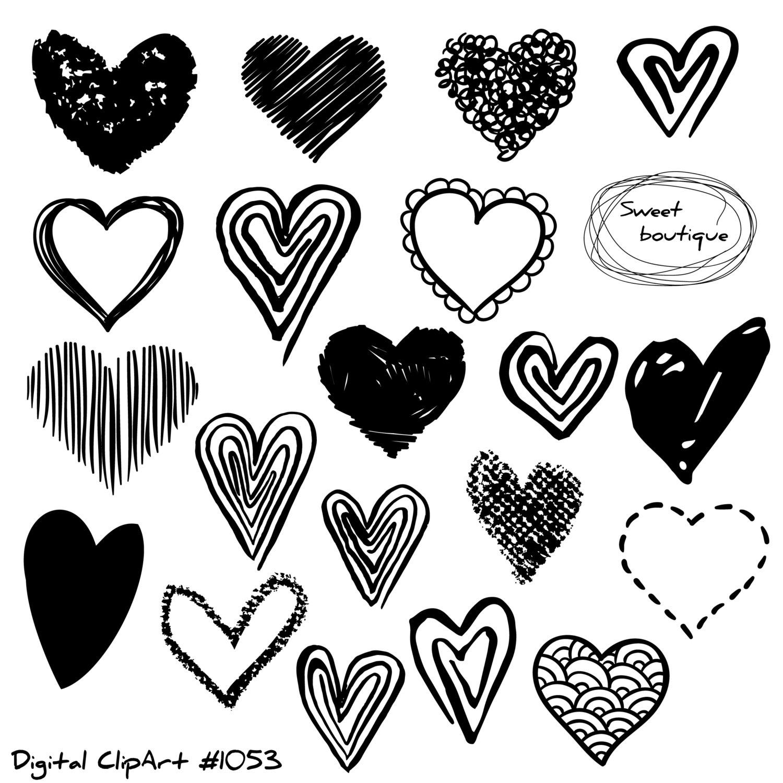1500x1499 Hand Draw Hearts, Doodle Heart, Love Clipart, Clip Art Hearts