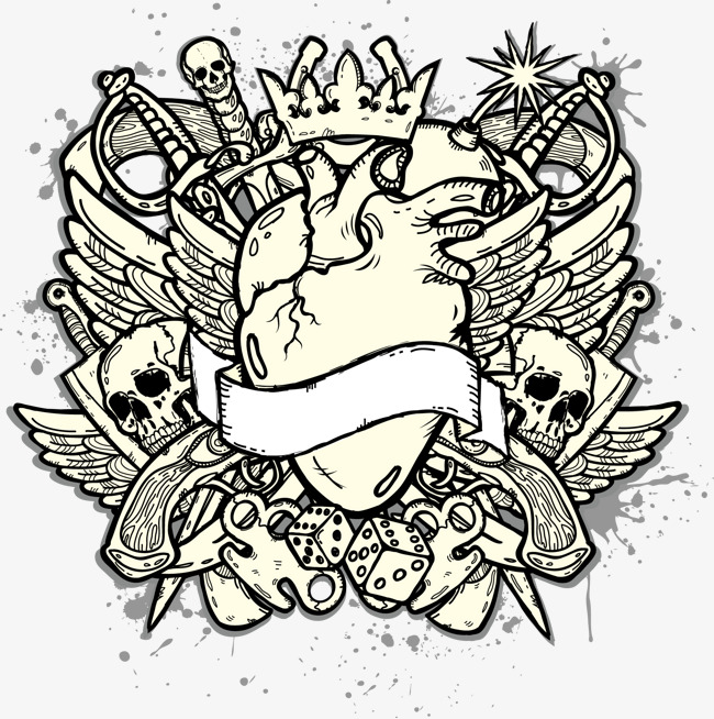 650x654 Hand Drawn Punk Heart T Shirt, Sketch, Vector, Punk Png And Vector