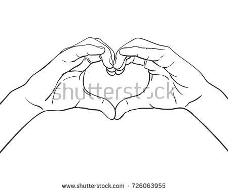 450x380 Sketch Of Hands Showing Heart Shape Gesture, Hand Drawn Vector