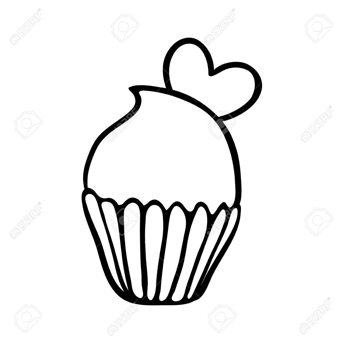 1300x1300 Valentine Cupcake Decorated With One Heart. Hand Drawn Sketch