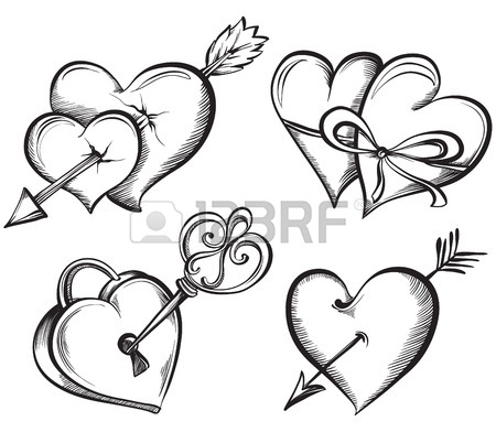 450x402 Valentine Heart. Key Lock In The Shape Of A Heart. Hand Drawn