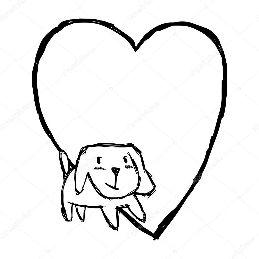 1024x1024 Illustration Vector Hand Draw Doodles Of Cute Dog Smiling