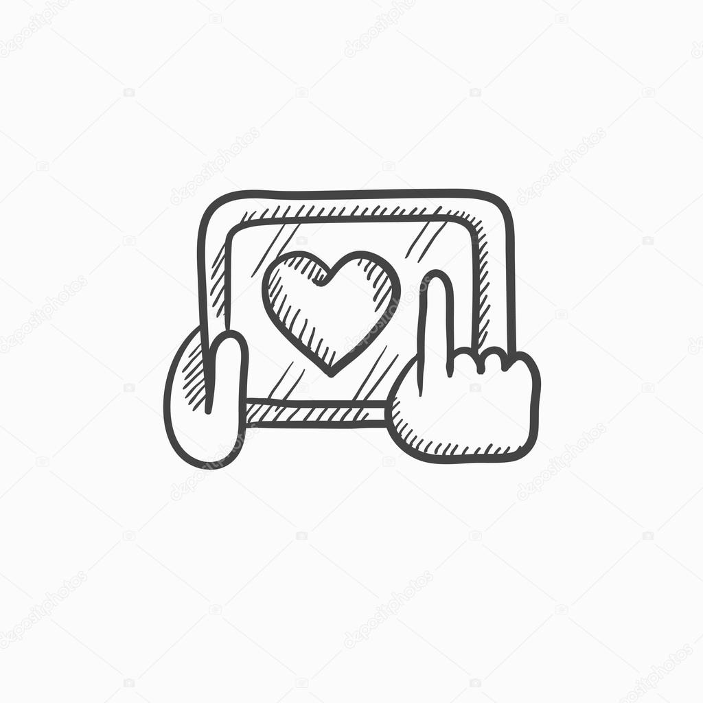 1024x1024 Hands Holding Tablet With Heart Sign Sketch Icon. Stock Vector