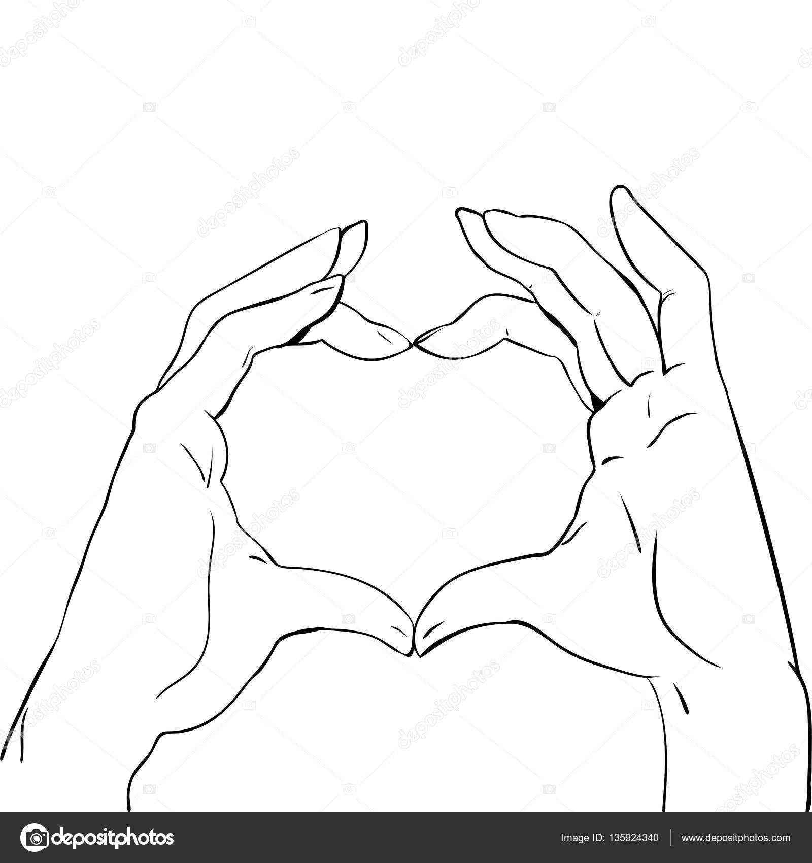1600x1700 Hands In Heart Form, Sketch Black And White Vector Illustration
