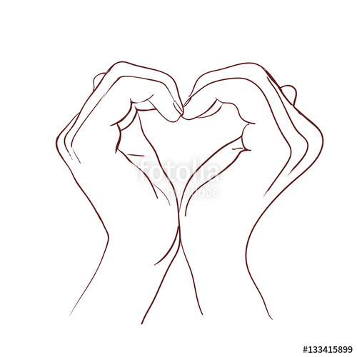 500x500 Hands Making Sign Heart. Vector Illustration Stock Image