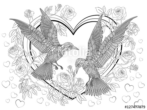 500x375 Hand Drawn Birds On Hearts In Roses. Coloring Page. Stock Image