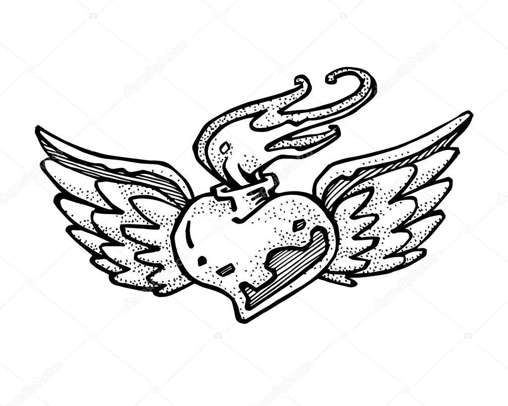 1024x819 Heart On Fire Hand Drawn Stock Vector Bernardojbp