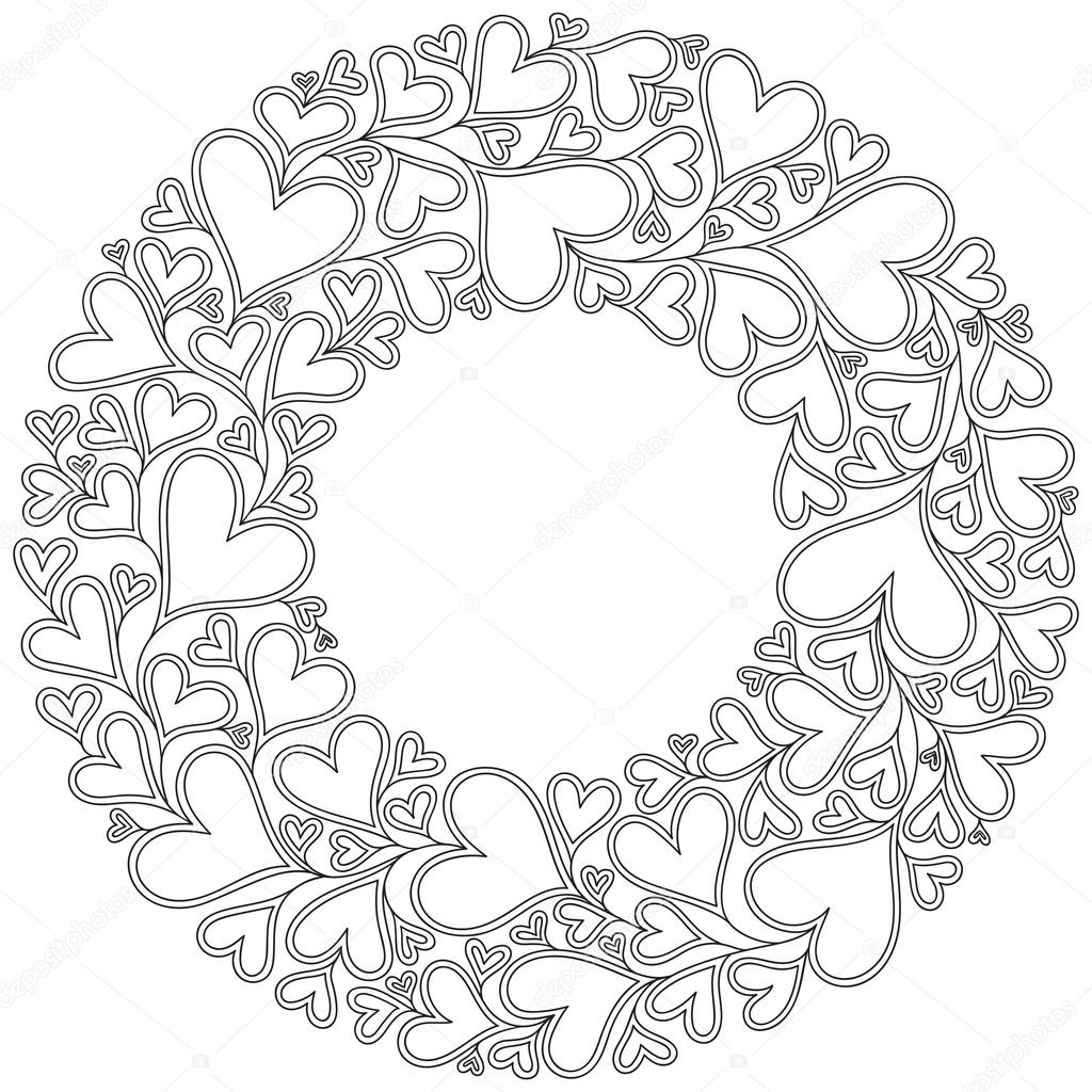 1024x1024 Pattern With Hand Drawn Monochrome Hearts In Zentangle Style