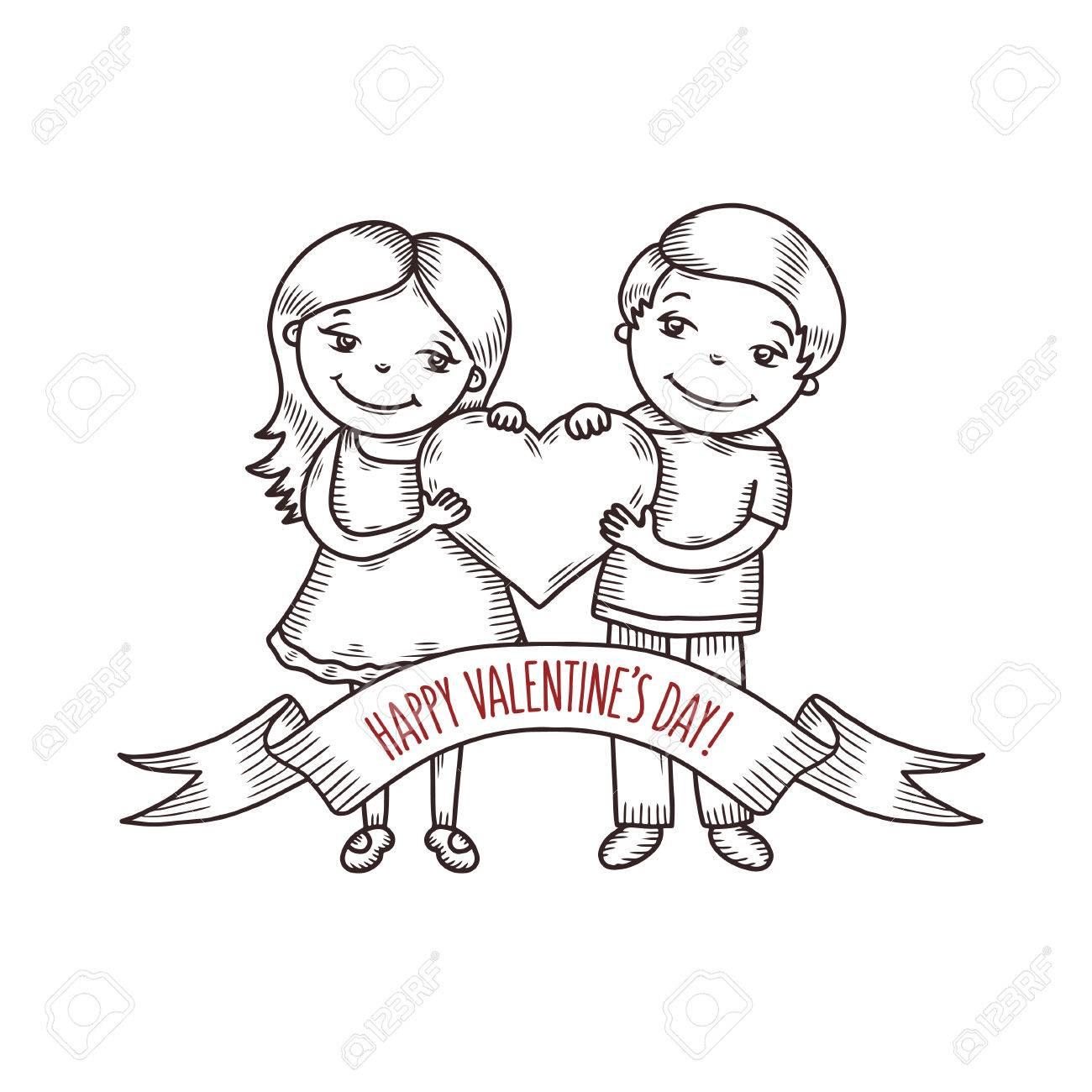 1300x1300 Valentine Day Greeting Card Hand Drawn Boy And Girl
