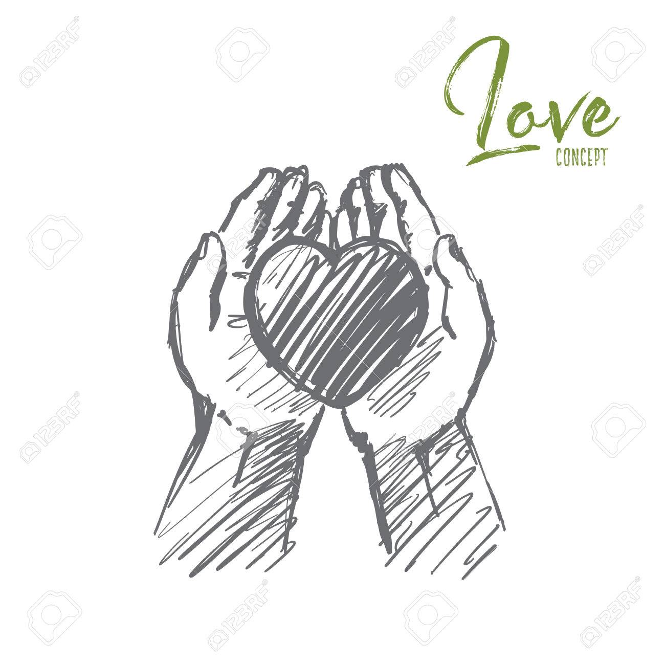 1300x1300 Vector Hand Drawn Love Concept Sketch. Heart In Caring Human