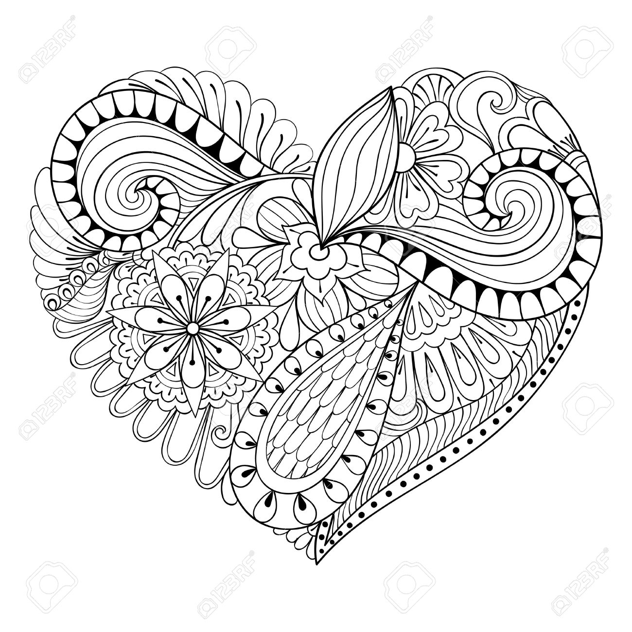 1300x1300 Artistic Floral Doodle Heart In Zentangle Style For Adult Coloring
