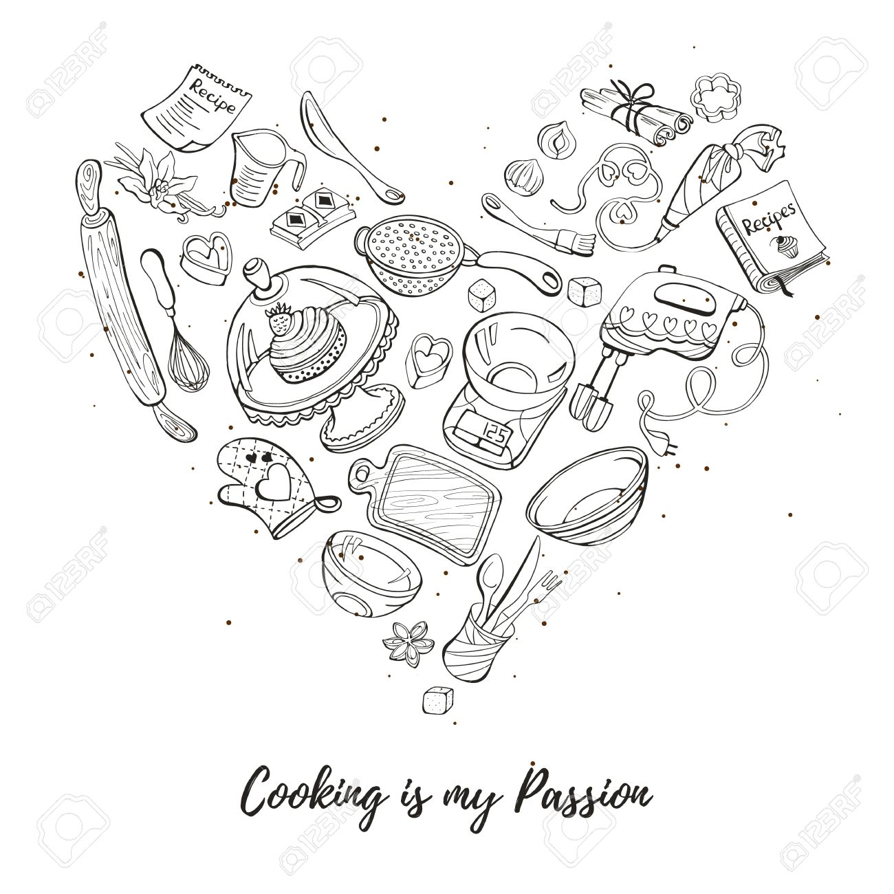 1300x1300 Cooking Is My Passion. Baking Tools In Heart Shape. Recipe Book