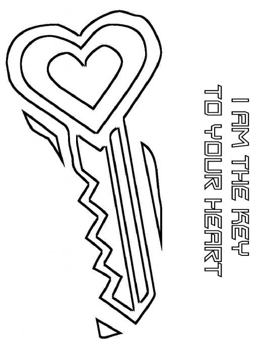 Heart Key Drawing