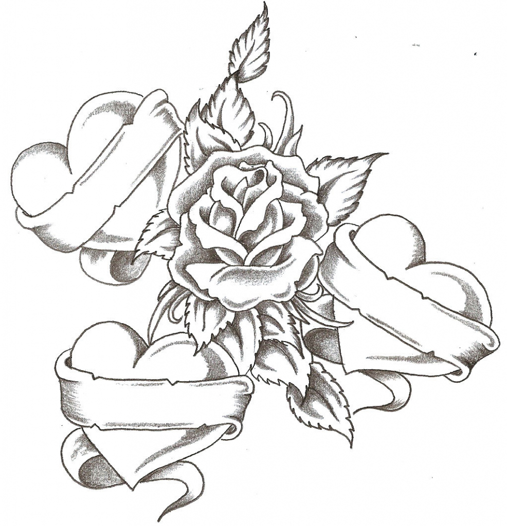 986x1024 Drawing Roses And Hearts Heart And Roses Tattoo Drawings Heart