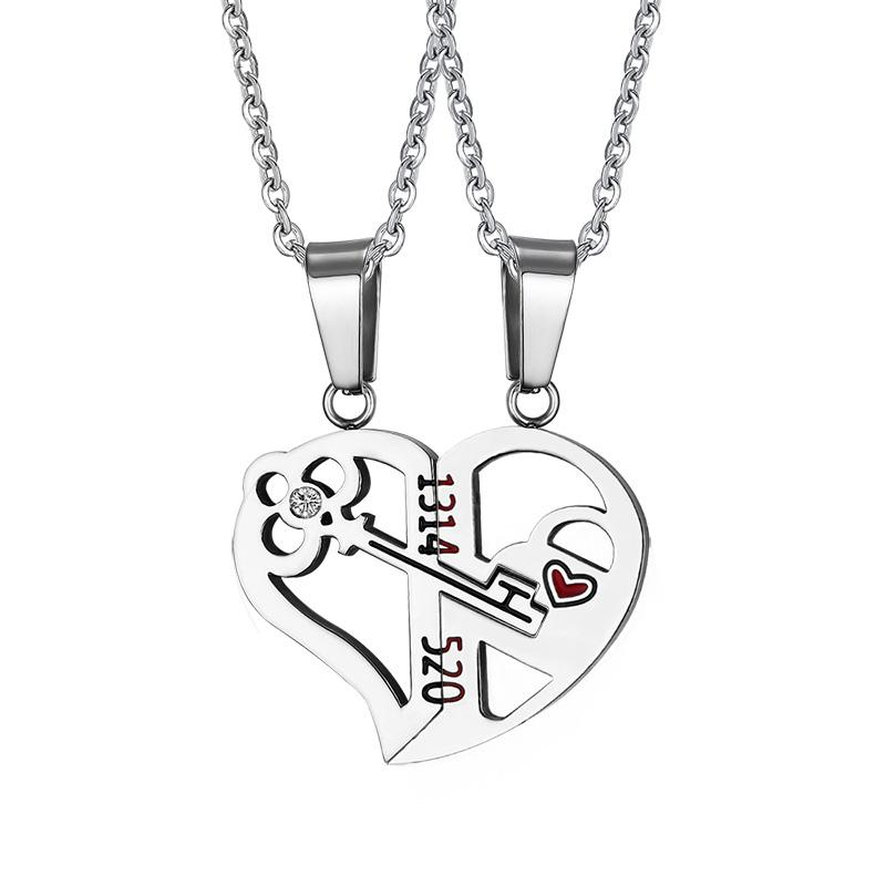 800x800 Heart And Key Couple Necklace Ashley Stones