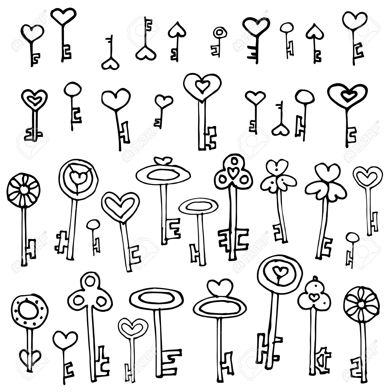 1300x1300 Keys Of Hearts. Hand Drawing Set Of Doodle Keys. Easy To Edit