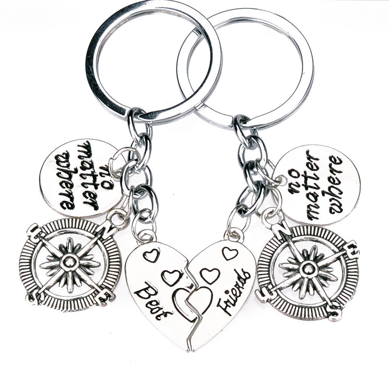800x800 2pc Best Friend Compass No Matter Where Heart Key Chain Jewelry