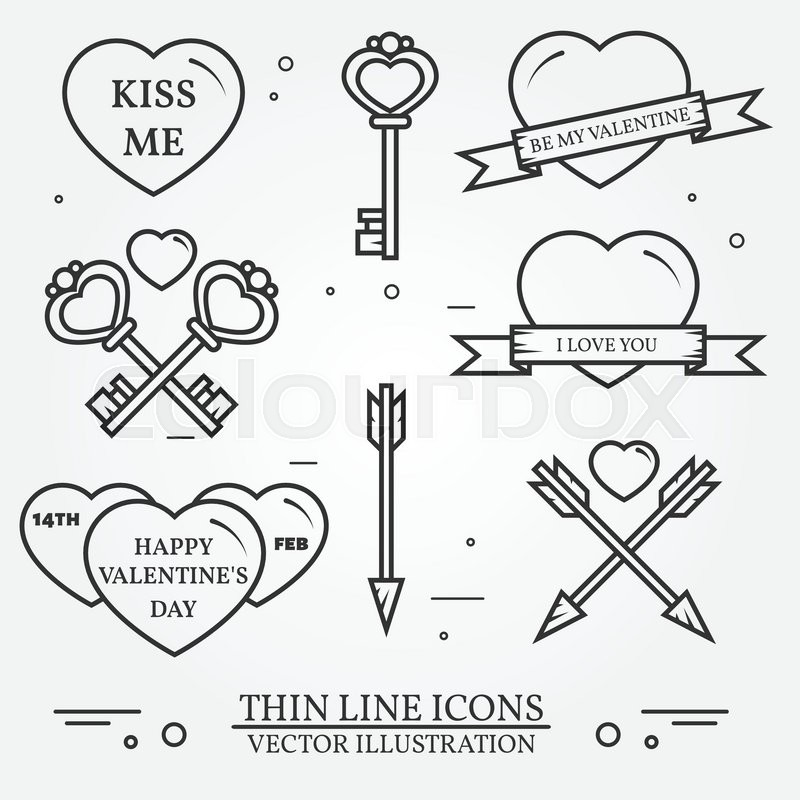 800x800 Vector Thin Line Badge, Label Set For Saint Valentine's Day