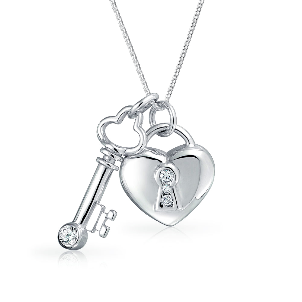1000x1000 925 Silver Cz Key And Lock Heart Pendant Necklace 17in