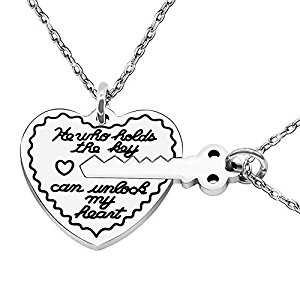 300x300 2pcs Heart Lock Key Lovers Couple Necklaces