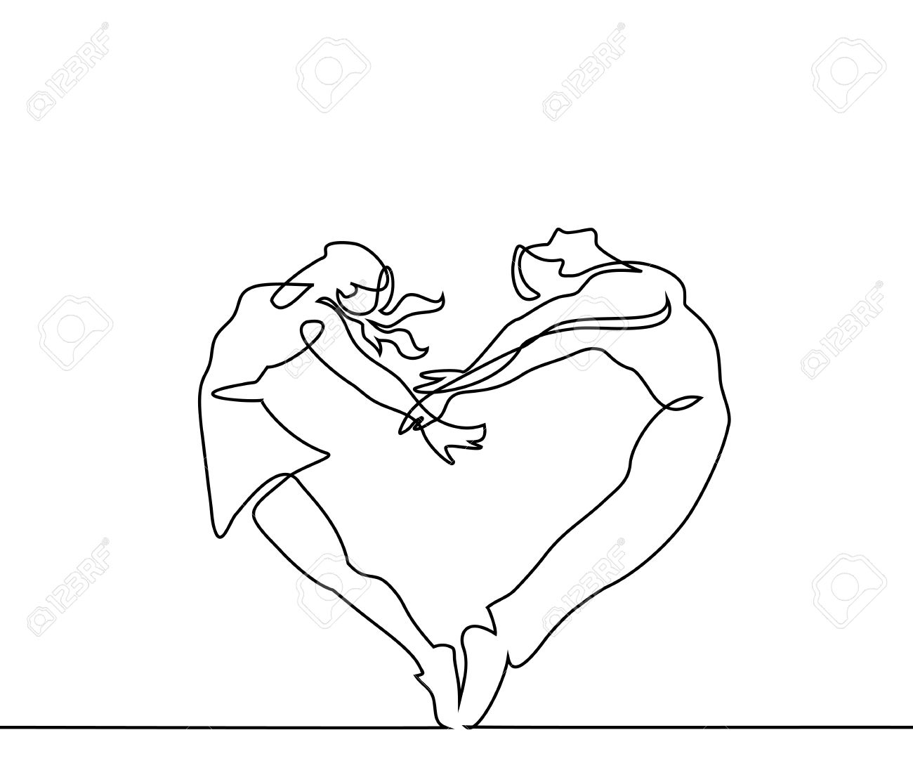 1300x1083 Continuous Line Drawing. Two People Couple Make Heart In Jump