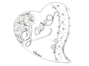 380x284 Lonna's Art Design Love Heart Line Drawing By Lonna Lamb