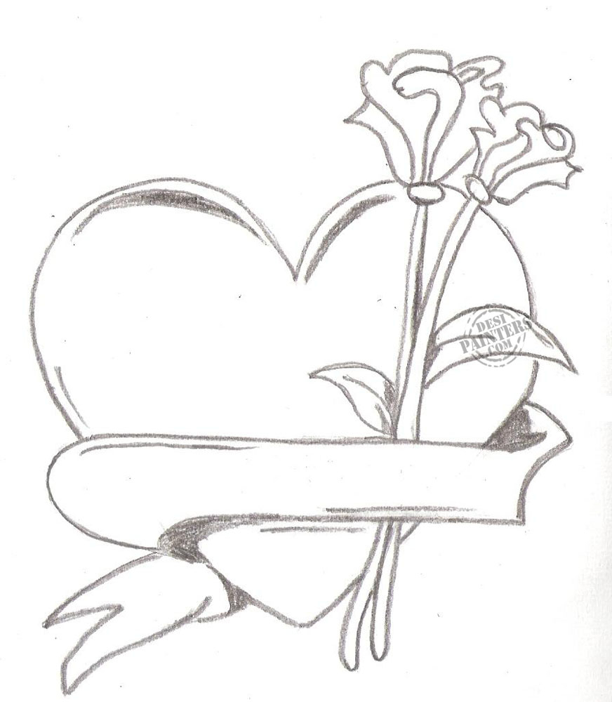 872x1000 Flower And Heart Drawings Roses And Heart Drawing Free Download