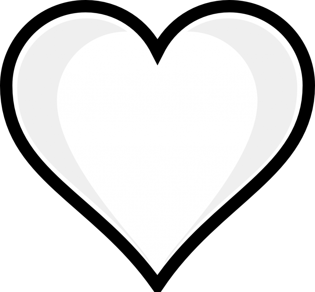 1024x951 Heart Clip Art Coloring Page Black And White Heart Clip Art