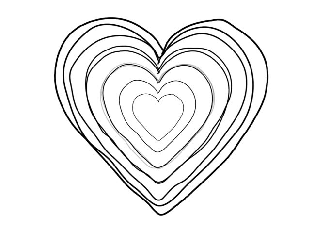 648x480 Black Heart Shape Echoed Line Art Sequence On White Stock Footage