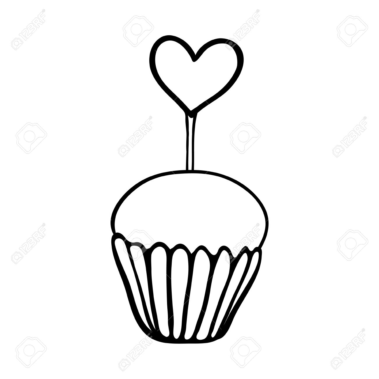 1300x1300 Valentine Cupcake Decorated With Heart Topper. Hand Drawn Sketch