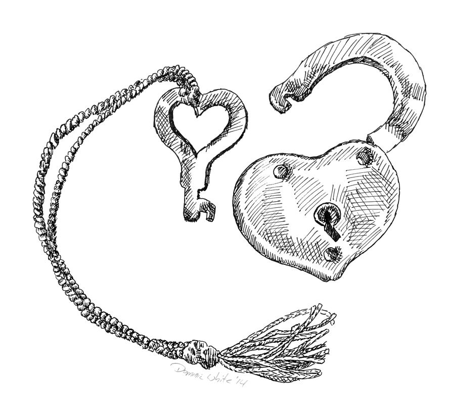 900x811 Heart Lock And Key Drawing By Dominic White