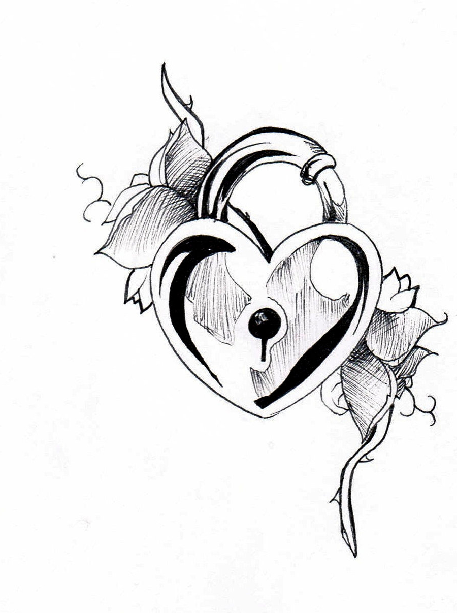 It is a graphic of Irresistible Heart Lock And Key Drawing