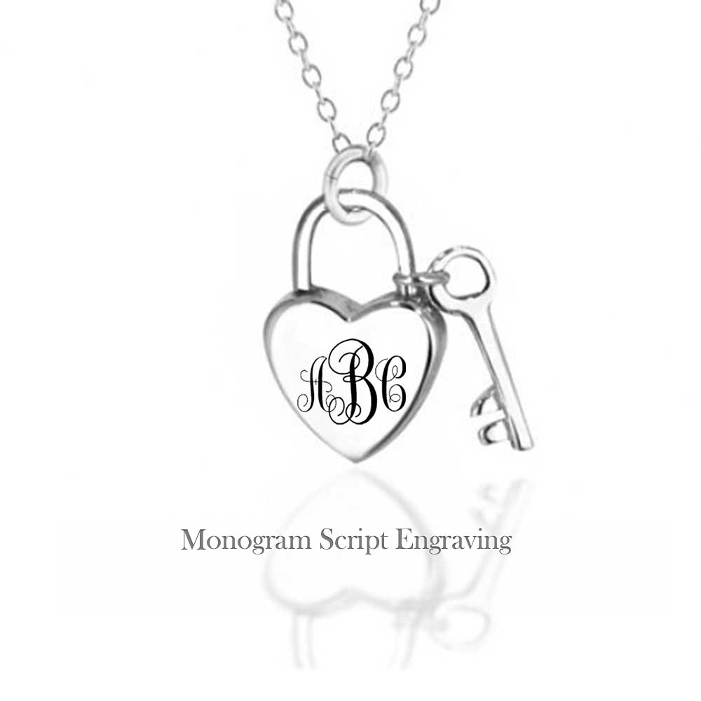 1000x1000 Key To My Heart Sterling Silver Padlock Pendant Necklace 16in