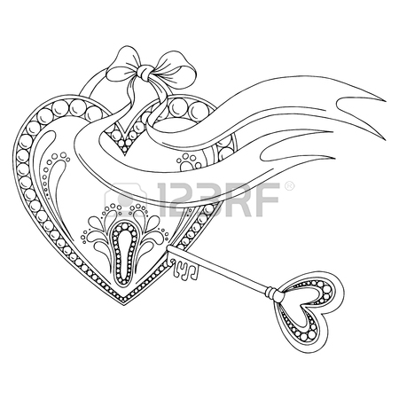 450x450 Pattern Heart Lock Key Doodle Black White Graphic Sketch