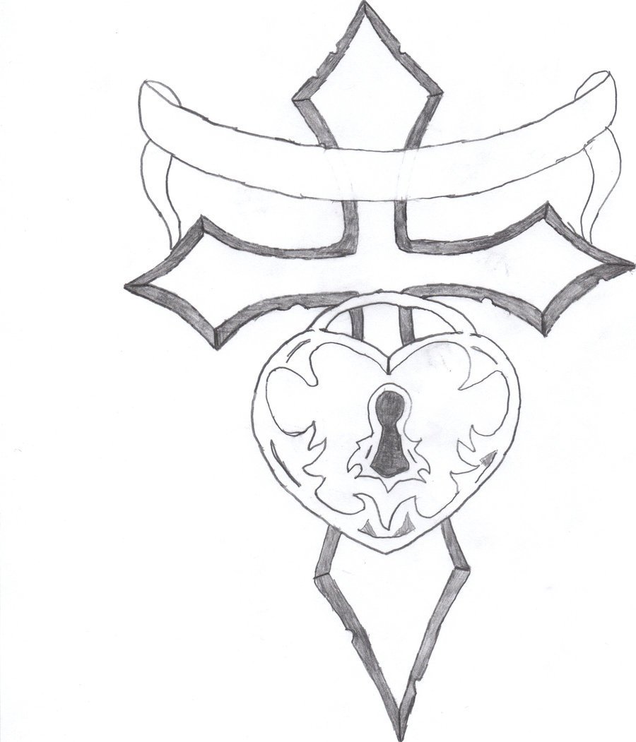 900x1051 Heart Lock Coloring Pages Cross With Roses Drawings