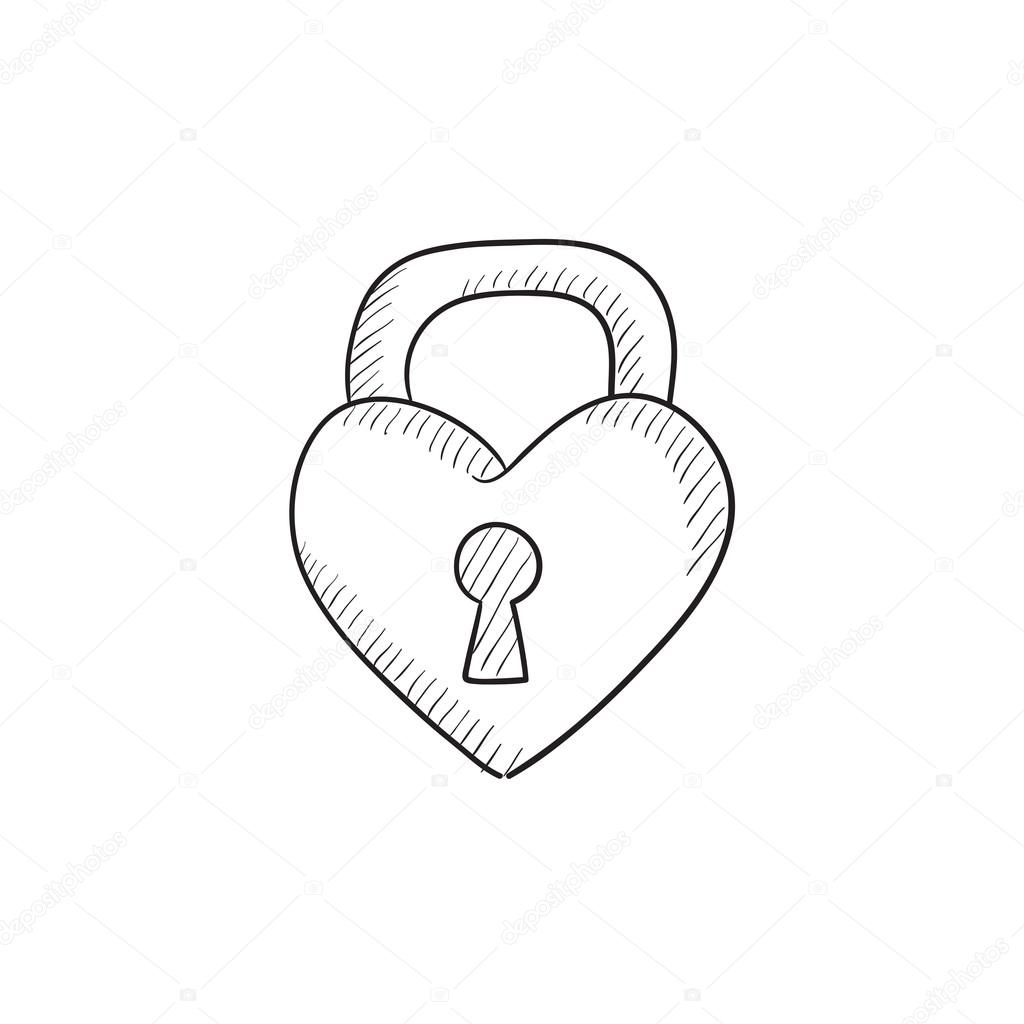 1024x1024 Lock Shaped Heart Sketch Icon. Stock Vector Rastudio